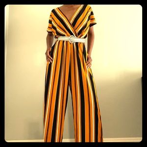 Striped pants romper
